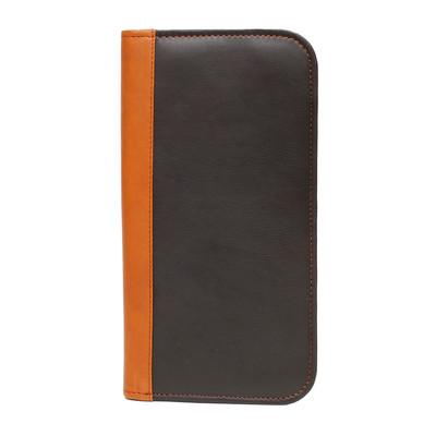Genuine Leather Bi-fold ticket wallet, Black + British Tan