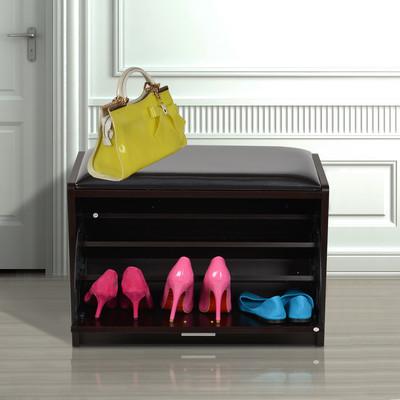 HOMCOM Portable Shoe Storage Bench Shoe Rack 3 Grid, Black