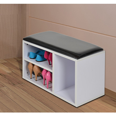 HOMCOM Wooden Shoe Bench Organizer PU Seat Entryway Storage Shelf Cabinet, White