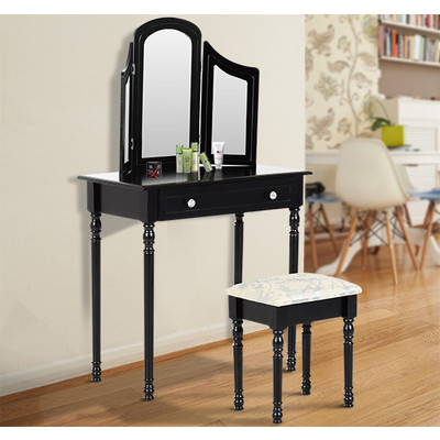 HOMCOM Dressing Table Set Wooden Mirror Makeup 2 Drawers
