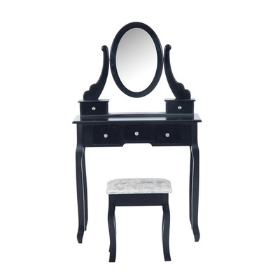 HOMCOM Dressing Table Set Contemporary Stool Rotatable Mirror 5 Drawers Black