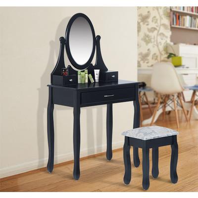 HOMCOM Wooden Makeup Vanity Dressing Table Set with Stool Mirror Black