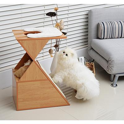 "PawHut 28"" Cat Furniture Tree Kitten Condo Scratching Mat Pet Play House w/ Toy"