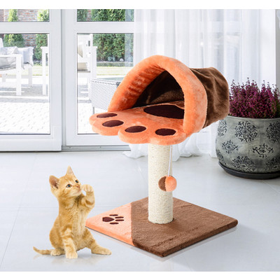 """PawHut 26"""" Cat Tree Tower Condo Scratch Post Pet Play Toy House, Brown and Orange"""