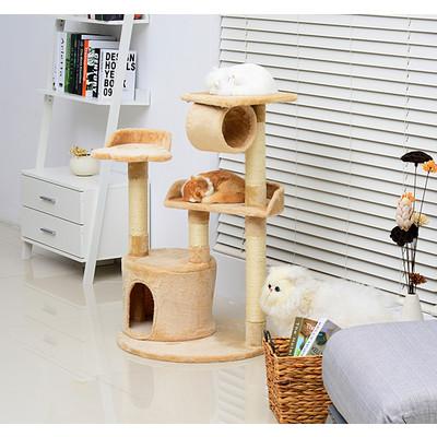 PawHut 38 ? Cat Tree Condo Furniture Play Toy Scratch Post Kitten Pet House, Beige