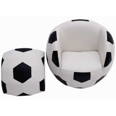 HOMCOM Children Kids Football Soccer Sofa Set Child Chair, Black and White