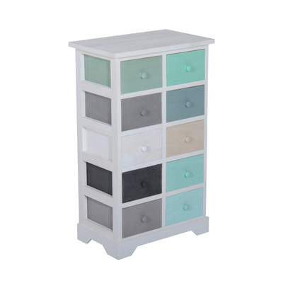 HOMCOM Wood Utility Storage Cabinet Chest Cupboard 10 Drawer Organizer Furniture