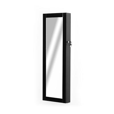 HOMCOM Black Mirrored Jewelry Cabinet Hanging Wall Door Mount Real Glass Mirror Locked
