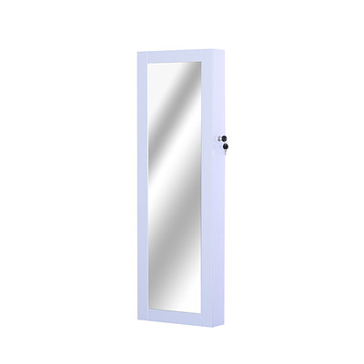 HOMCOM White Mirrored Jewelry Cabinet Hanging Wall Door Mount Real Glass Mirror Locked, White