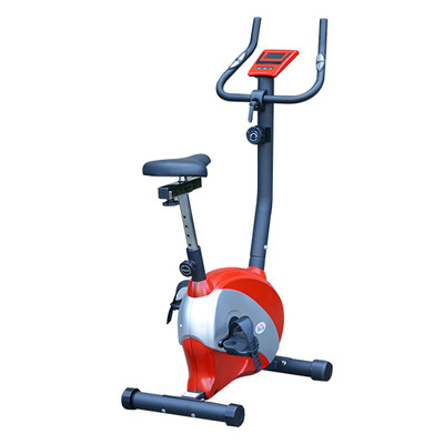 Soozier Magnetic Exercise Bike Indoor Cycling Trainer Cardio Health Fitness, Black and red