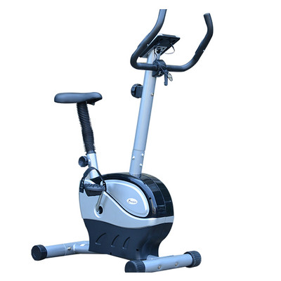 Soozier Magnetic Exercise Bike Cycling Trainer Health Fitness Gym Machine, Black and silver