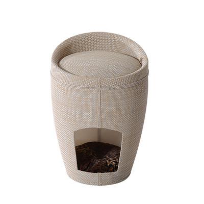 "PawHut 20""H Cat House Sit Hide Sleep Cave Pet Condo Furniture Linen w/ Cushion, Beige"