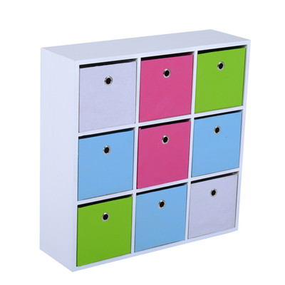HOMCOM Wood &Fabric Storage Cabinet 9 Cube Shelf Unit Cupboard Closet Organizer