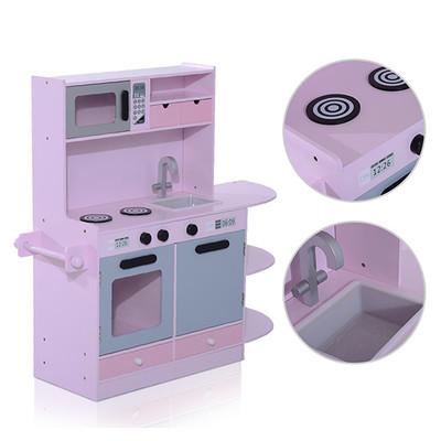 Homcom Kids Kitchen Playset Children Cooking Role Pretend Play Toy, Pink