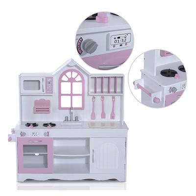 HOMCOM Kids Play Kitchen Cooking Appliances Craft Pretend Play Toy Set, White