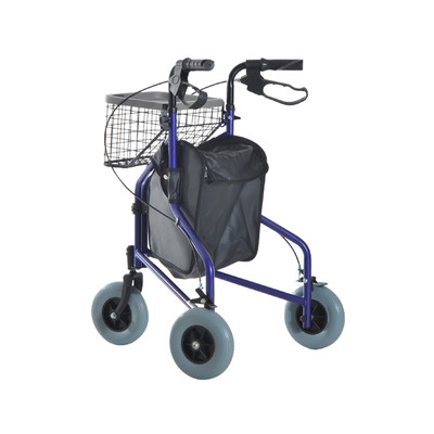 "HOMCOM Heavy Duty Rollator Walker 8"" 3 Wheels Basket Rolling Folding"