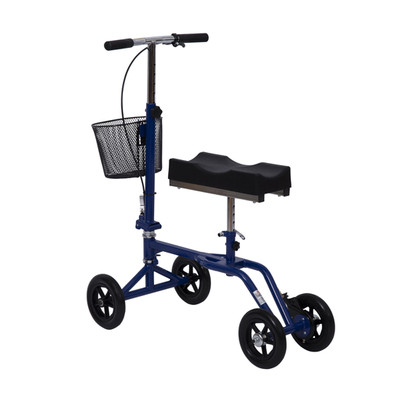 HomCom Adjustable Knee Walker Foldable Steerable Medical Scooter with Brake Basket, Blue