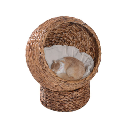 PawHut Elevate Cat House Tree Kitty Condo Bed Banana Leaf Cave Brown w/ Cushion