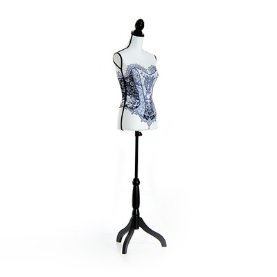 HOMCOM Female Lighted Mannequin Stand Torso Dress Tripod Stand Black Strapless Lace