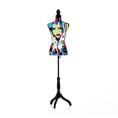 HOMCOM Female Mannequin Lighted Torso Dress Display Tripod Stand, Colorful