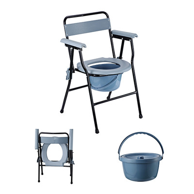 HOMCOM Folding Commode Chair Toilet Seat Adult Potty with Bucket, Grey