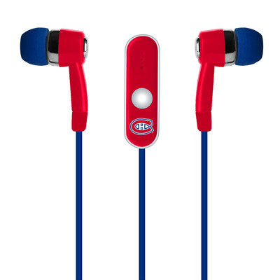 Official NHL Montreal Canadiens - Earbuds with mic + USB charging cable for most Android phone and electronic devices. (NHL-M001)