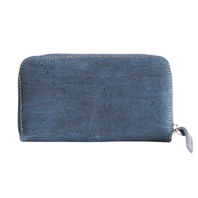 CORK MULTI-USE ZIP AROUND  LADIES WALLET VEGAN BLUE