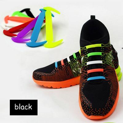 Black - Lazy Elastic Silicone Shoelaces, no need for tying shoes again - Set of 12pcs