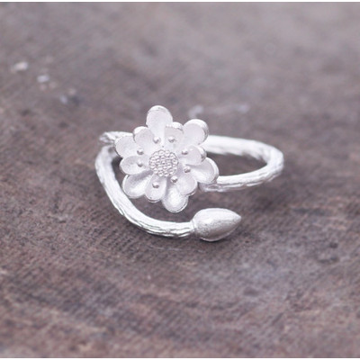 Sterling White Lotus Open Ring SALE