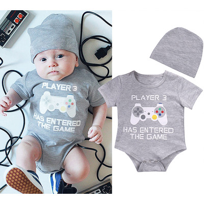Player Three Video Game Onesie and Matching Bonnet  2+ Plus