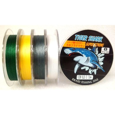 White - Back to Basic - Tiger Shark 6 lb 100m 8 Braided Super Strong Fishing Line