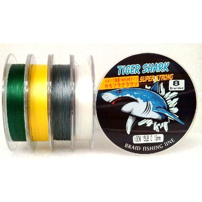 White - Back to Basic - Tiger Shark 15 lb 100m 8 Braided Super Strong Fishing Line