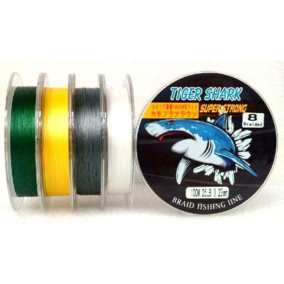 White - Back to Basic - Tiger Shark 25 lb 100m 8 Braided Super Strong Fishing Line