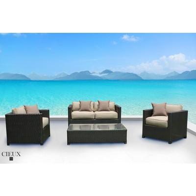 Outdoor Patio Wicker Sunbrella Conversation Sofa Set