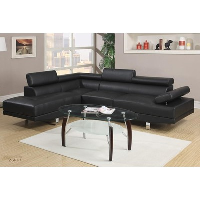 Hollywood Black Faux Leather Adjustable Sectional Sofa