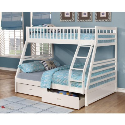 Twin over Full Bunk Bed with Storage Drawers and Solid Wood