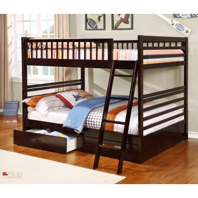 Full over Full Bunk Bed with Storage Drawers and Solid Wood