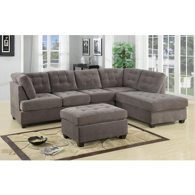 Charcoal Grey Waffle Suede Sectional Sofa with Reversible Facing Chaise
