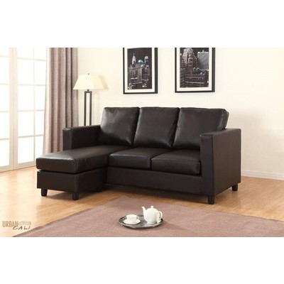 Newport Eco Leather Small Condo Apartment Sized Sectional Sofa with Reversible Chaise