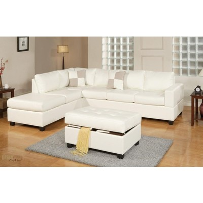 Sacramento Eco Leather Sectional Sofa with Reversible Chaise