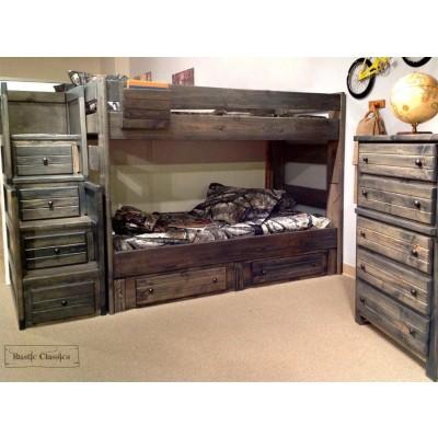 Pine Full over Full Bunk Bed in Rustic Grey