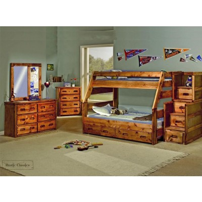 Pine Twin Over Full Bunk Bed in Amber Wash