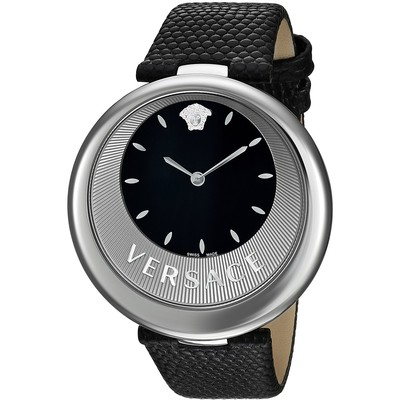 Versace Women's 'PERPETUELLE' Swiss Quartz Stainless Steel and Leather Casual Watch, Color:Black (Model: VAQ010016)