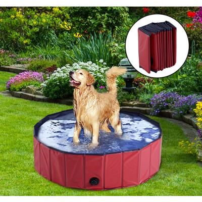 "PawHut Folding Dog Bath Pool Pet Swimming Pool Puppy Bathing Tub Pet Supplies (?39.4"", Red)"
