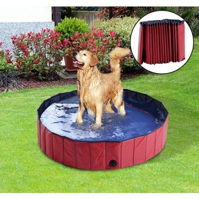 "PawHut Folding Dog Bath Pool Pet Swimming Pool Puppy Bathing Tub Pet Supplies (?55.1"", Red)"