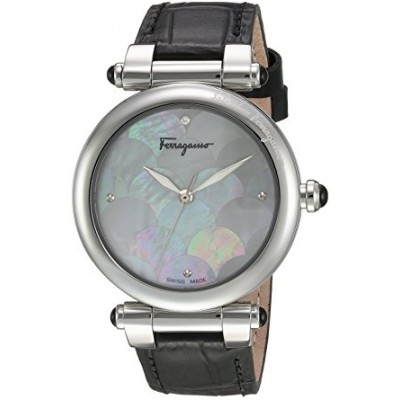 Salvatore Ferragamo Women's 'IDILLIO' Quartz Stainless Steel and Leather Casual Watch, Color:Black (Model: FCH010016)