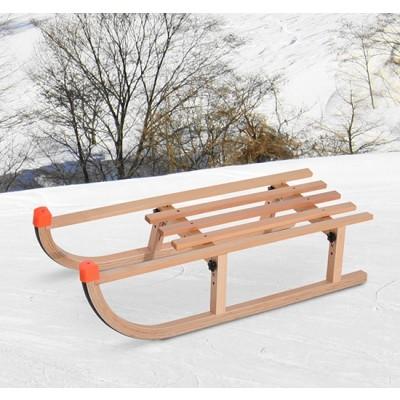 Qaba Wooden Baby Sleigh Snow Sled Folding Ski Sliding Snowmobile Outdoor Sport