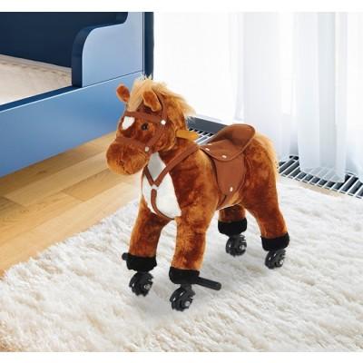 Qaba Kids Walking Pony Ride on Horse Rocking Toy Wheels & Footrest Neigh Sound, Brown
