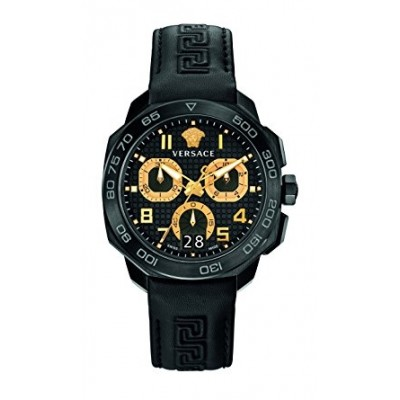 Versace Men's VQC020015 DYLOS CHRONO Black Stainless Steel Watch with Black Leather Band