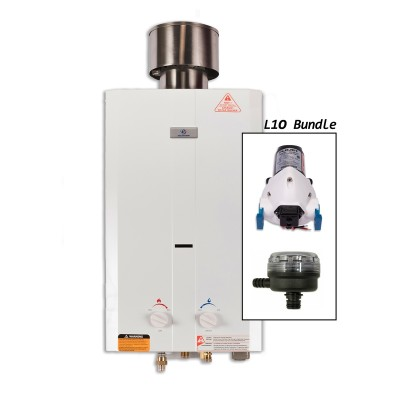 Eccotemp L10 Portable Outdoor Tankless Water Heater w/ Pump, Strainer, & Chrome Shower Set